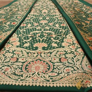 Bottle Green Pure Katan Silk Banarasi Handloom Lehenga