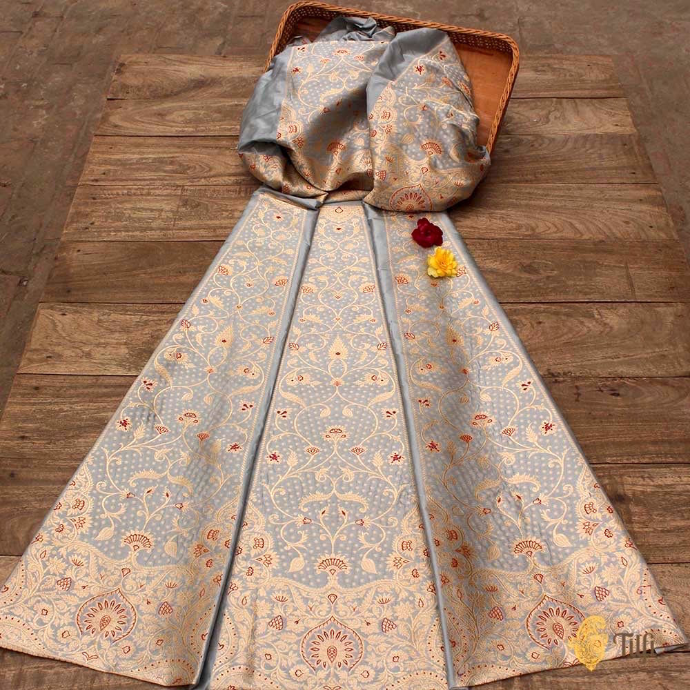 Powder Blue Pure Katan Silk Banarasi Handloom Lehenga