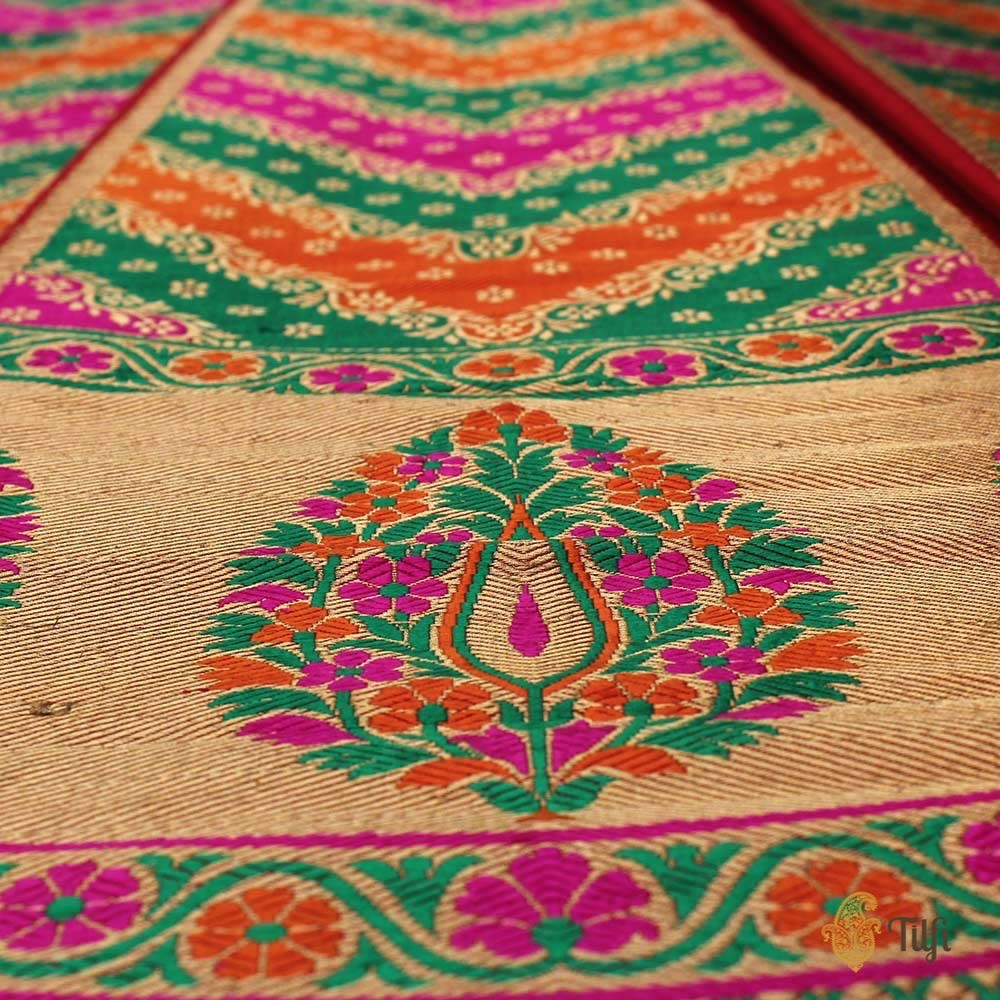 Multicoloured Pure Katan Silk Banarasi Handloom Lehenga