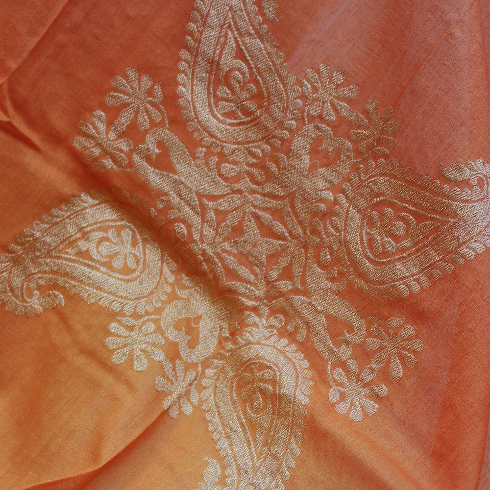 Orange Ombre Pure Monga Silk Banarasi Handloom Dupatta