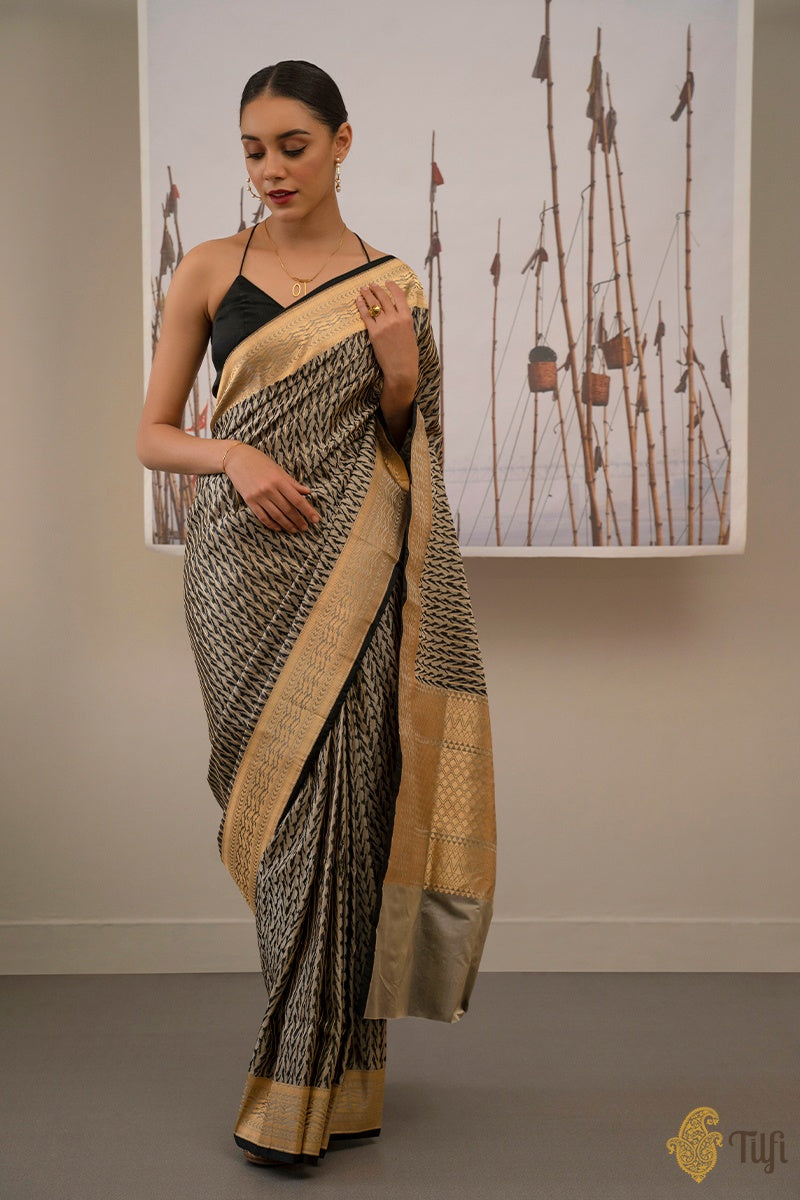 Black-Grey Pure Soft Satin Silk Banarasi Handloom Saree