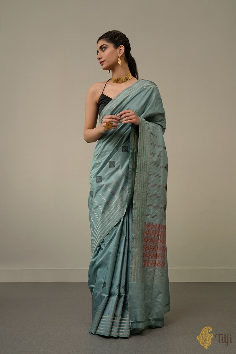 Dusty Blue Pure Katan Silk Banarasi Handloom Saree