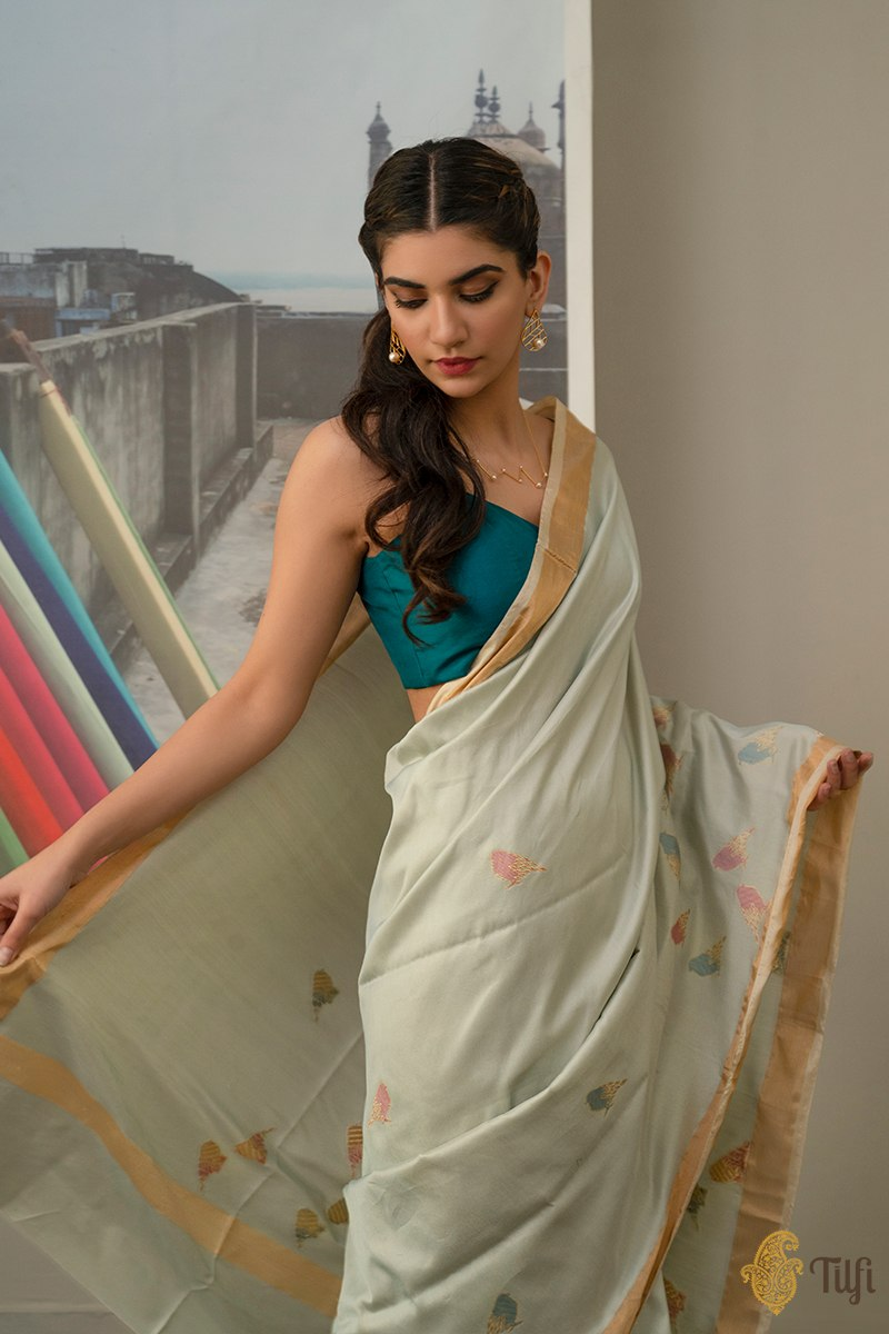 'Gupshup' Ice Blue Denim Pure Katan Silk Cotton Banarasi Handloom Saree