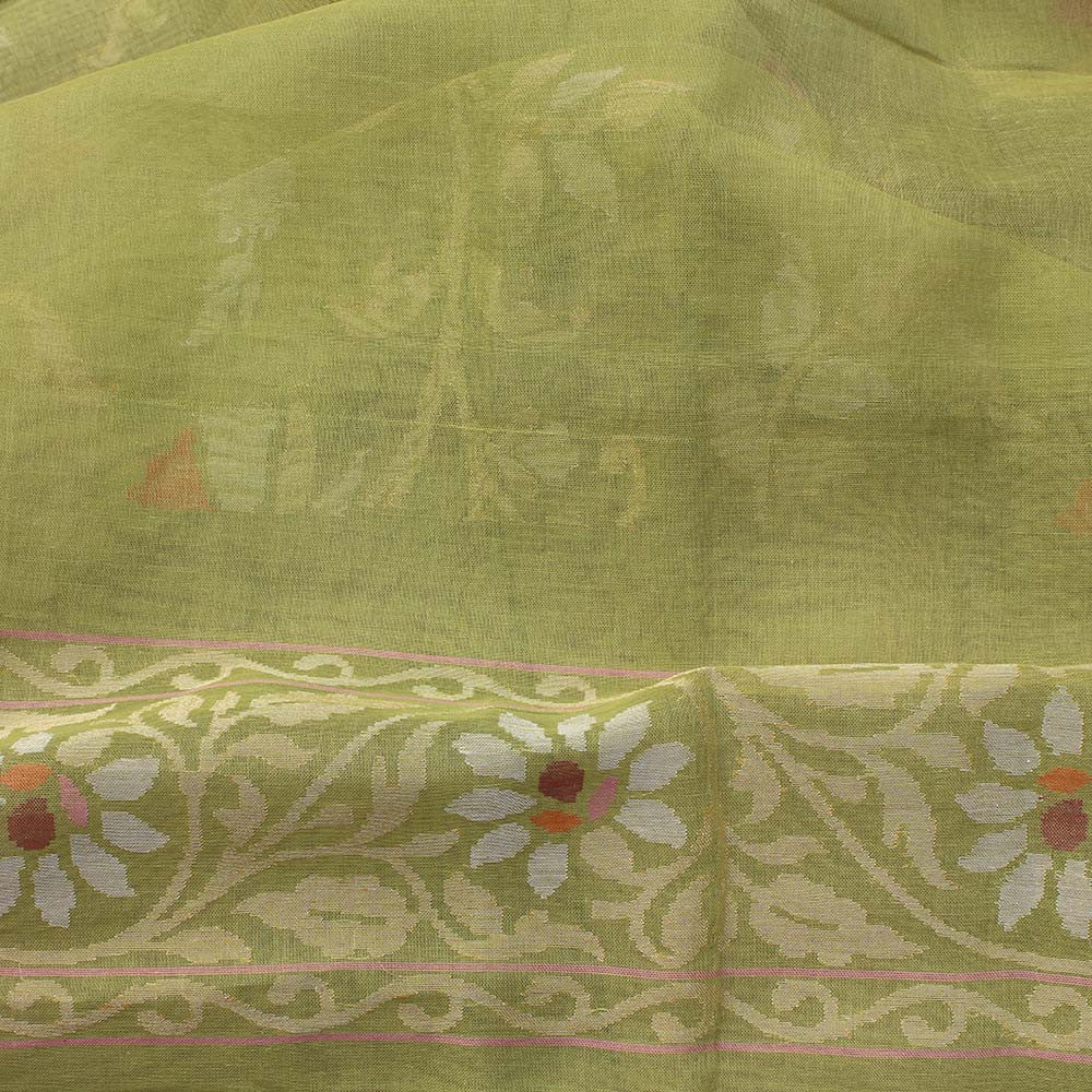 Pista Green Pure Cotton Jamdani Real Zari Banarasi Handloom Saree