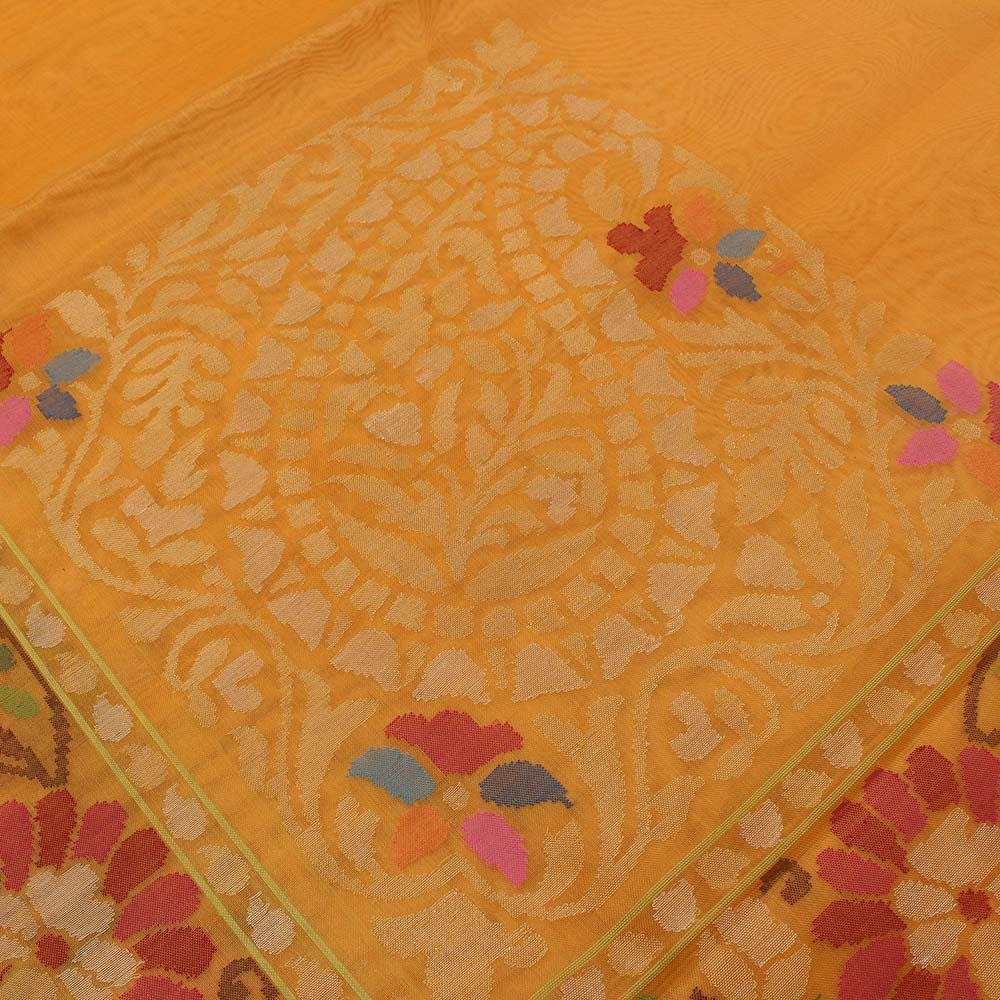 Yellow Pure Kora Silk Real Zari Banarasi Handloom Saree