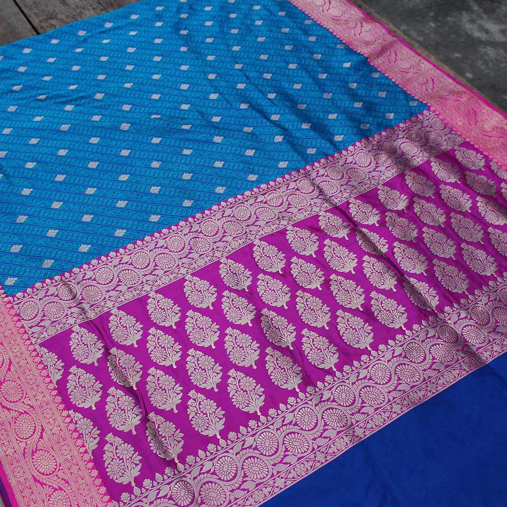 Blue Pure Soft Satin Silk Banarasi Handloom Saree