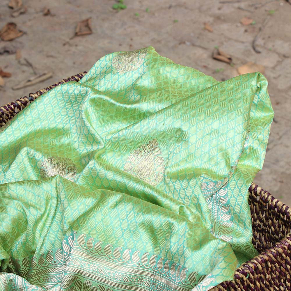 Light Green Pure Katan Silk Banarasi Handloom Saree - Tilfi