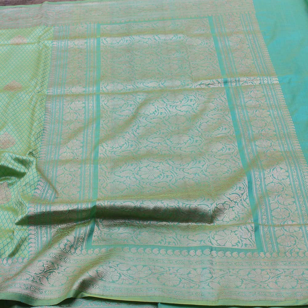 Light Green Pure Katan Silk Banarasi Handloom Saree