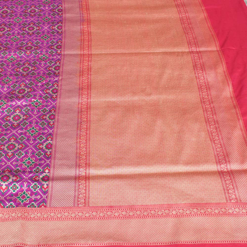 Purple Pure Katan Silk Banarasi Patola Handloom Saree