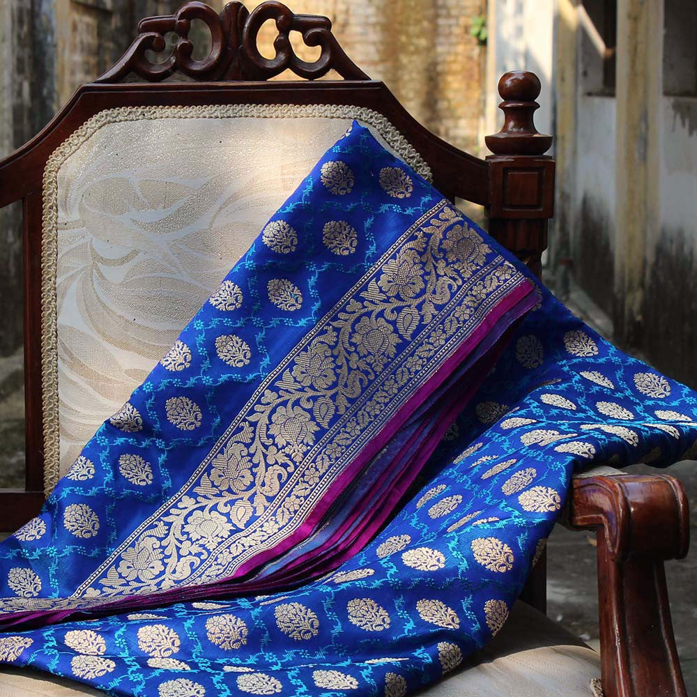 Royal Blue Pure Soft Satin Banarasi Handloom Saree