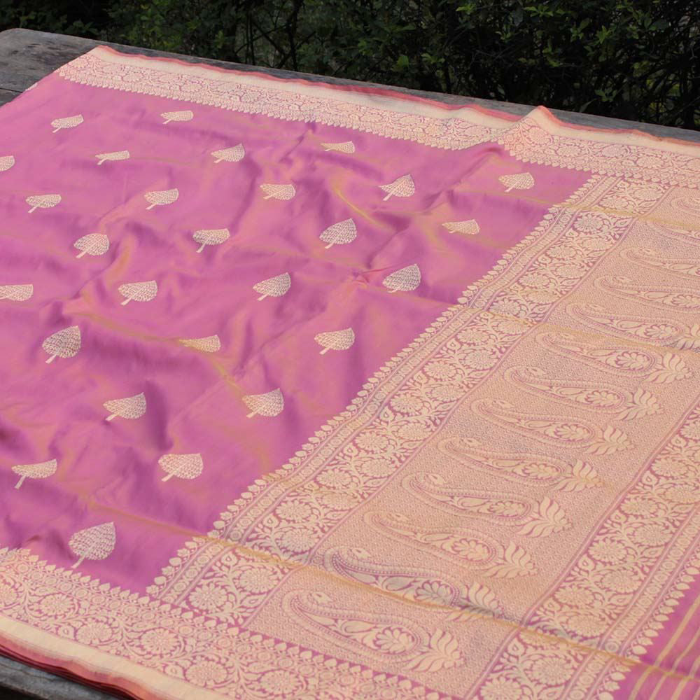 Rose Pink-Gold Pure Katan Silk Banarasi Handloom Saree