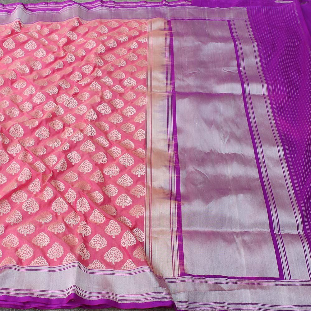 Peach Pure Silk Georgette Banarasi Handloom Saree