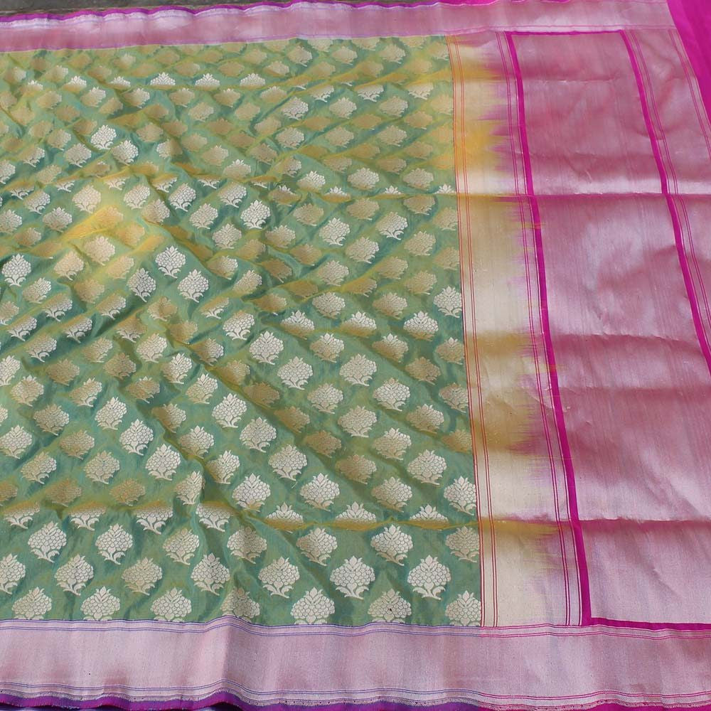 Lemon Yellow-Sea Green Pure Silk Georgette Banarasi Handloom Saree