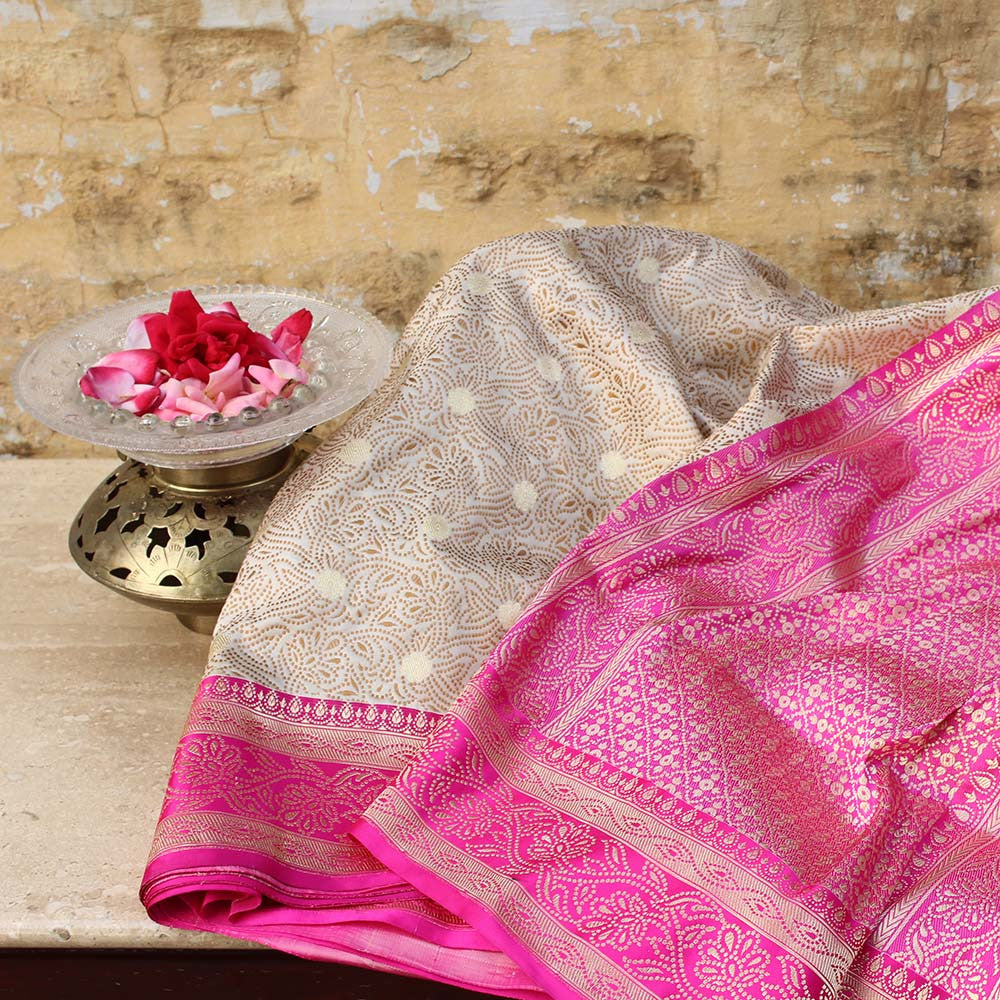 Off-White-Gulabi Pink Pure Soft Satin Silk Banarasi Handloom Saree