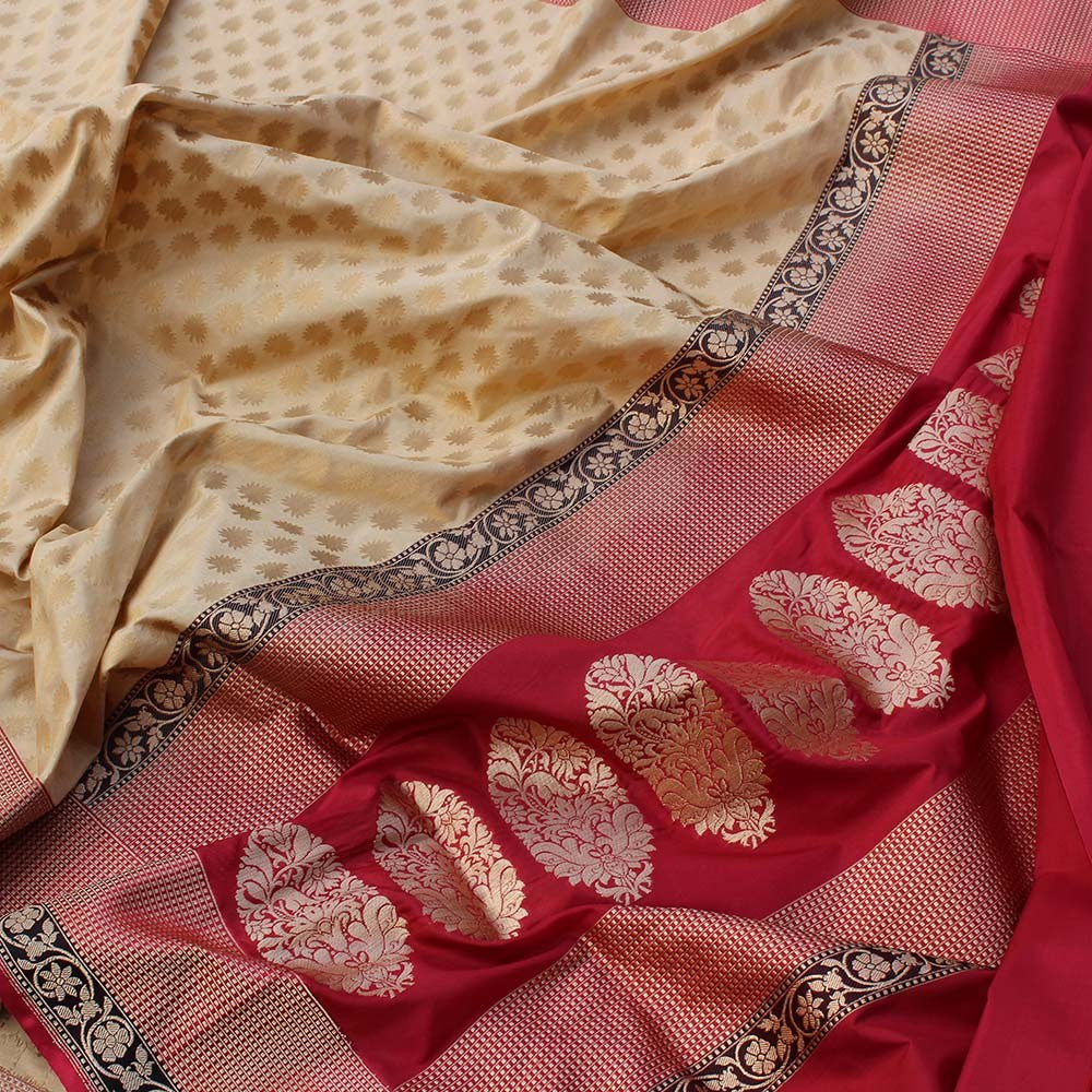 Tussar-Red Pure Katan Silk Banarasi Handloom Saree