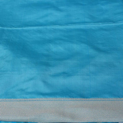 Ferozi Blue Pure Soft Satin Banarasi Handloom Saree