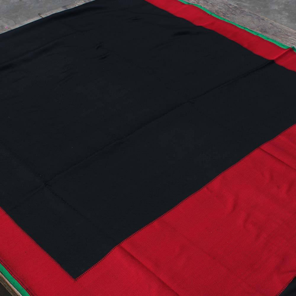 Black-Red Pure Soft Satin Silk Banarasi Handloom Saree