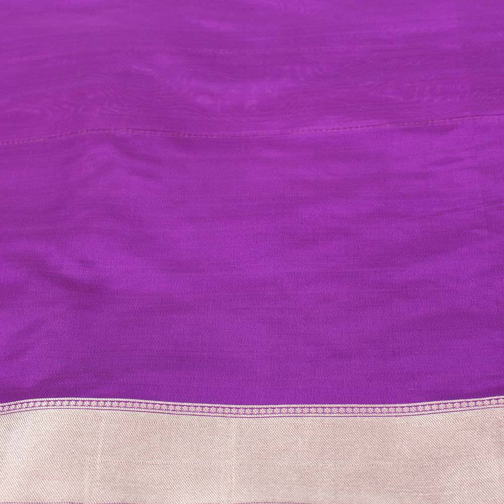 Purple Pure Silk Georgette Banarasi Handloom Saree