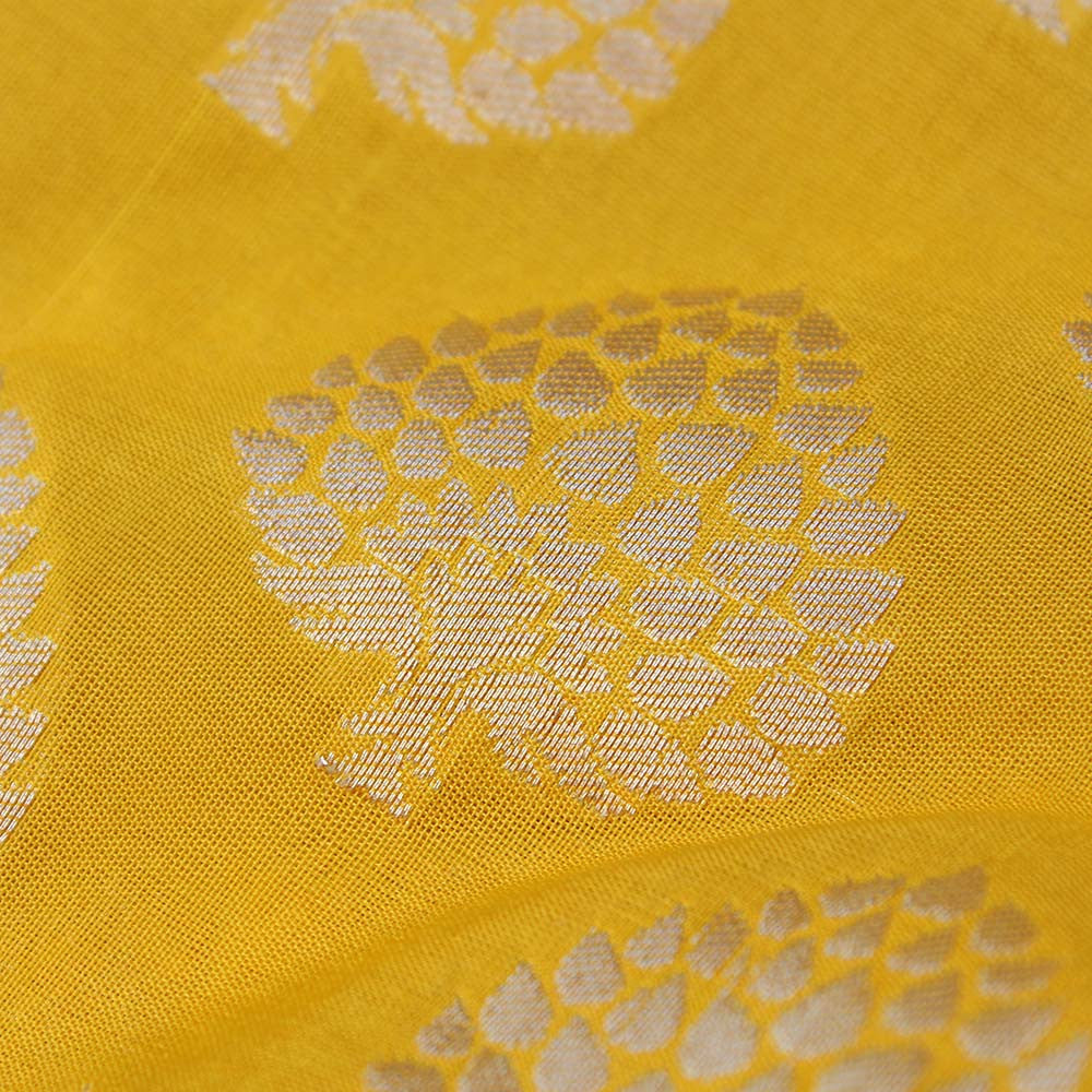 Yellow Pure Silk Georgette Banarasi Handloom Saree