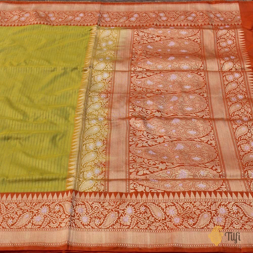 Lime Green-Orange Pure Katan Silk Banarasi Handloom Saree