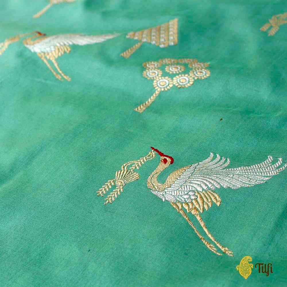 Aqua Green Pure Katan Silk Banarasi Handloom Saree