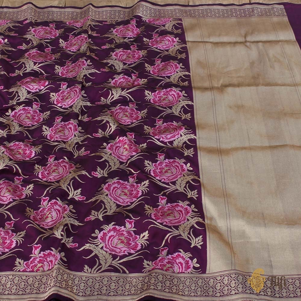 'Bed of Roses' Black-Magenta Pure Katan Silk Banarasi Floral Handloom Saree