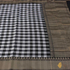 Black-White Pure Cotton Banarasi Handloom Saree