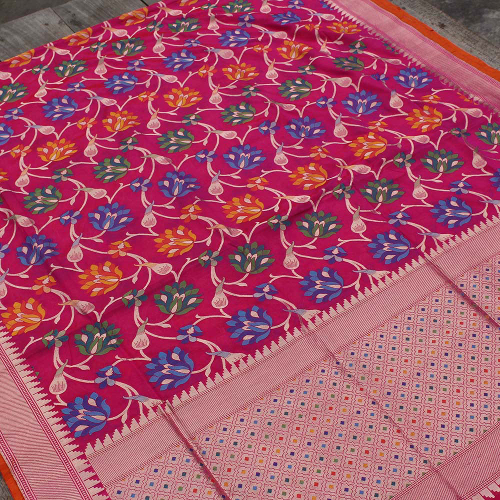 Indian Pink-Red Pure Katan Silk Banarasi Handloom Saree