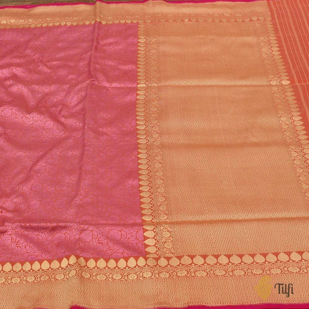 Soft Pink-Peach Pure Katan Silk Banarasi Handloom Saree
