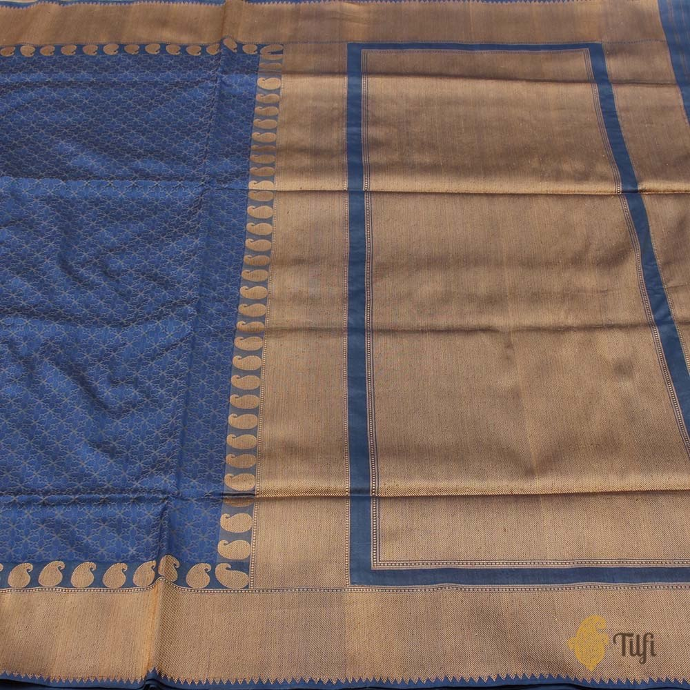 Denim Blue Pure Katan Silk Banarasi Handloom Saree