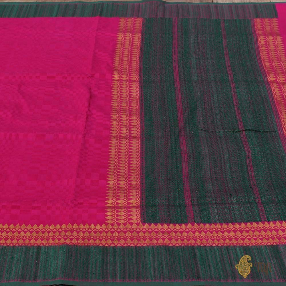 Indian Pink Pure Silk Georgette Banarasi Handloom Saree