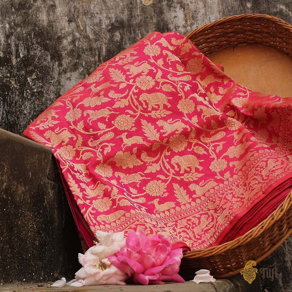 Pink-Orange Pure Katan Silk Banarasi Shikaargah Handloom Saree