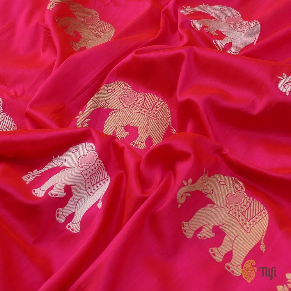 Red-Gulabi Pink Pure Katan Silk Banarasi Handloom Saree