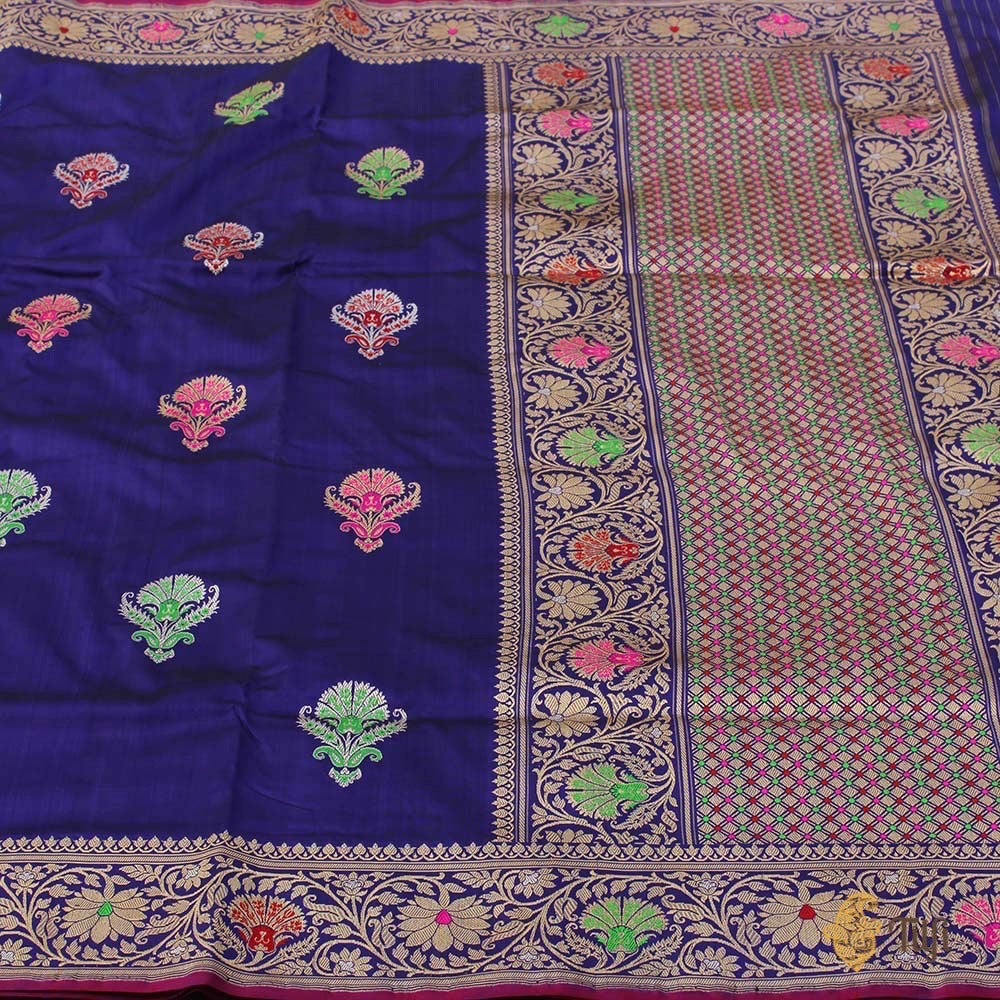 Black-Royal Blue Pure Katan Silk Banarasi Handloom Saree