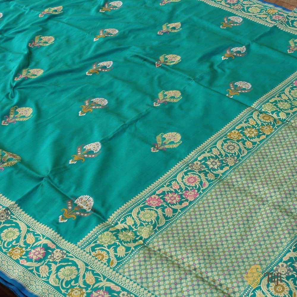Green-Ferozi Blue Pure Katan Silk Banarasi Handloom Saree