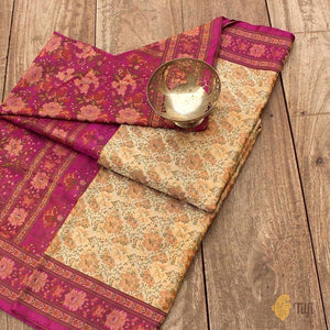 Cream-Pink Pure Soft Satin Silk Banarasi Handloom Saree