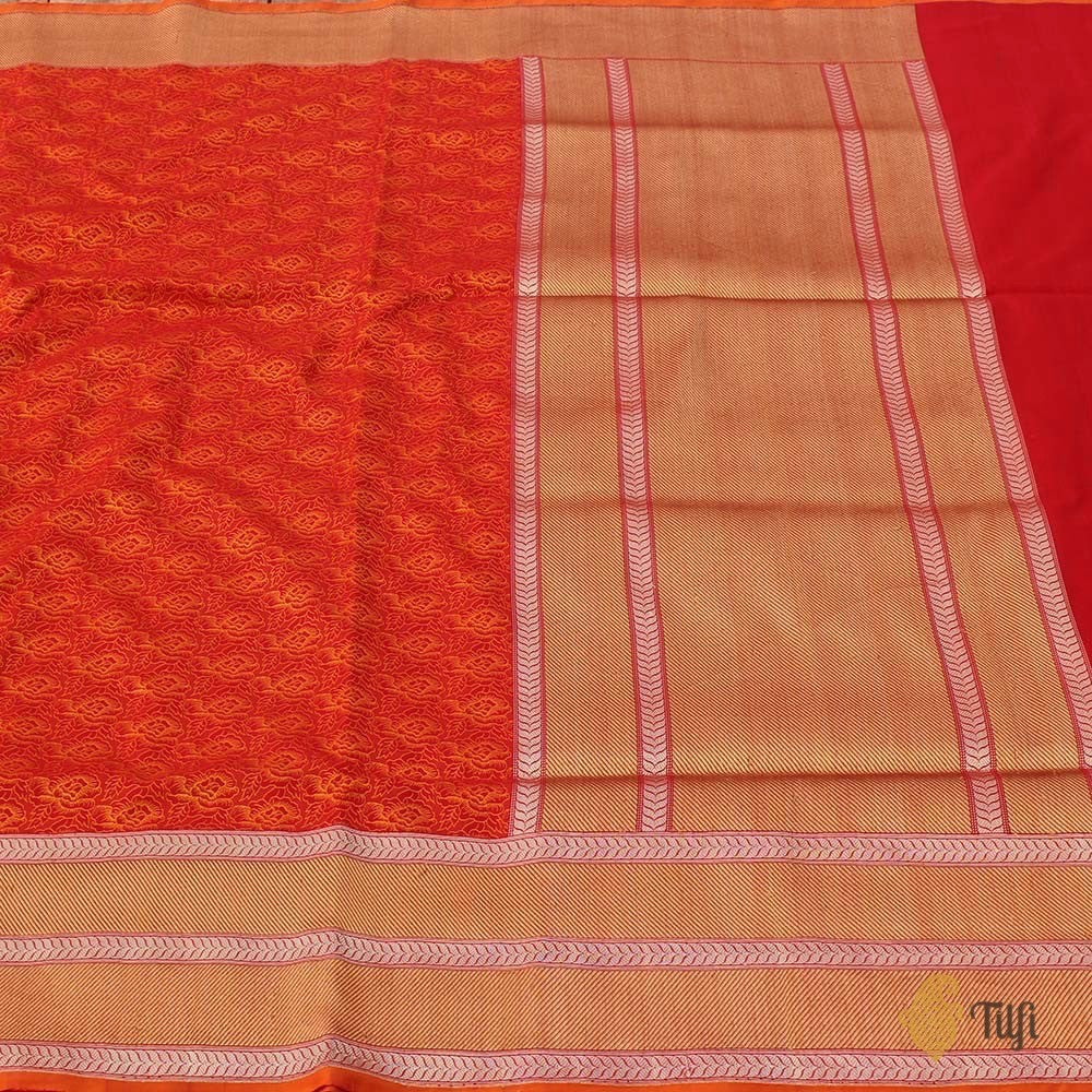 Orange-Red Pure Katan Silk Banarasi Handloom Saree