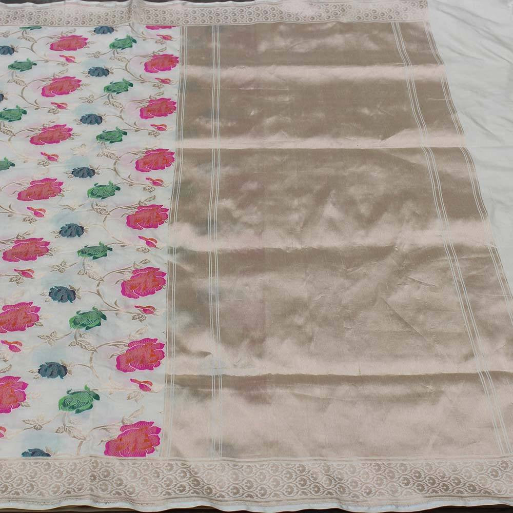 Cream Pure Katan Silk Banarasi Handloom Saree