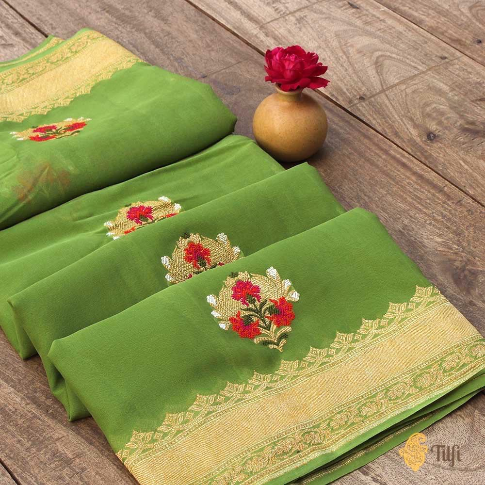 English Green Pure Chiffon Georgette Banarasi Handloom Saree