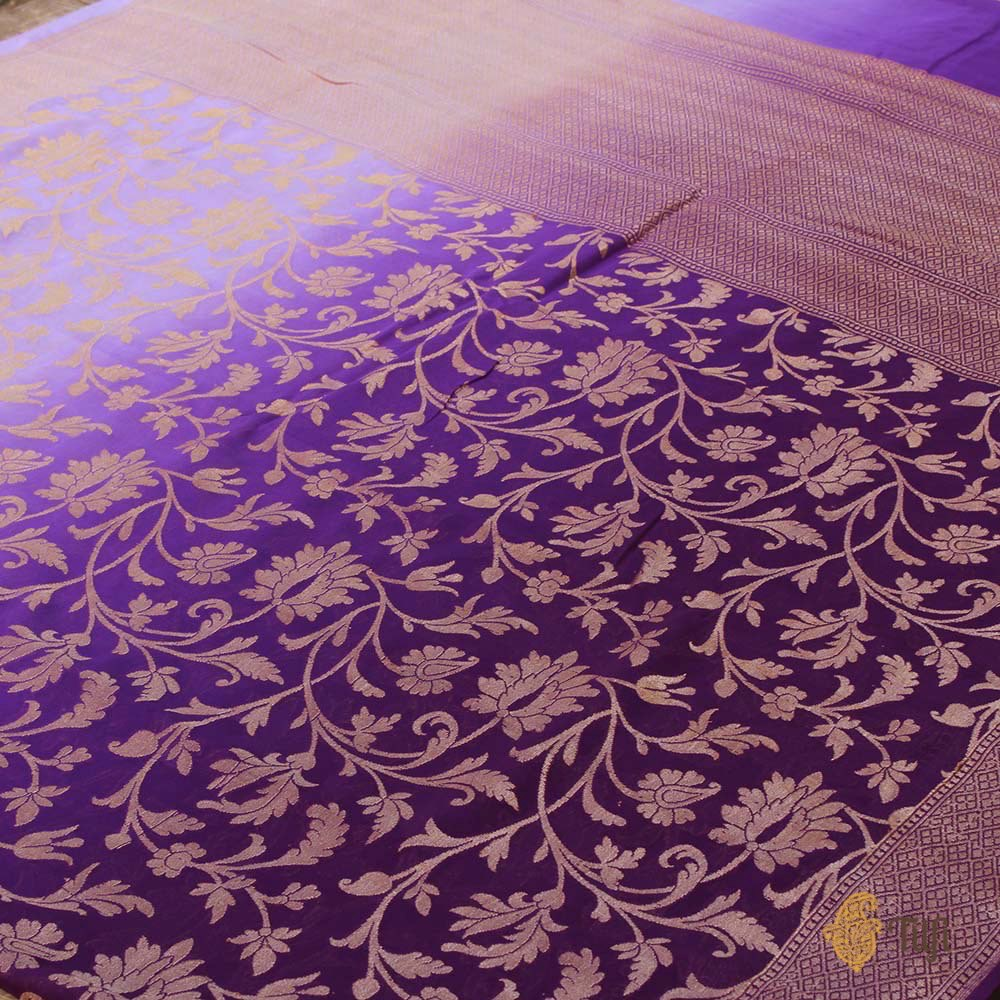 Purple Ombre Pure Chiffon Georgette Banarasi Handloom Saree