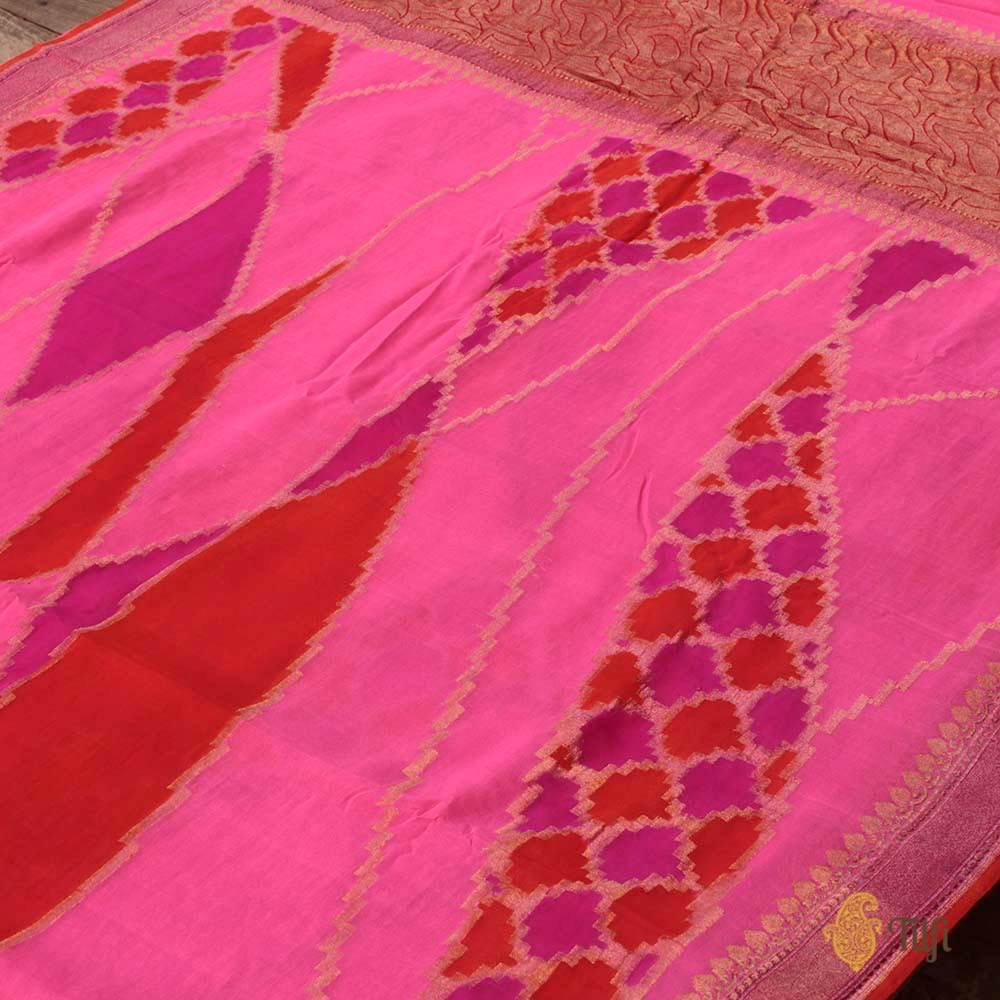 Hand-Painted Pure Chiffon Georgette Banarasi Handloom Saree