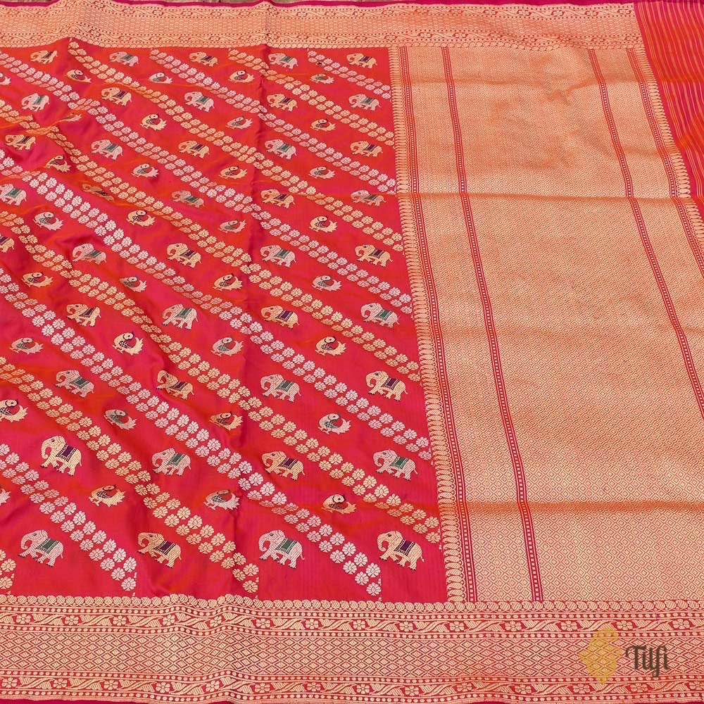Orange-Rani Pink Pure Katan Silk Banarasi Handloom Saree
