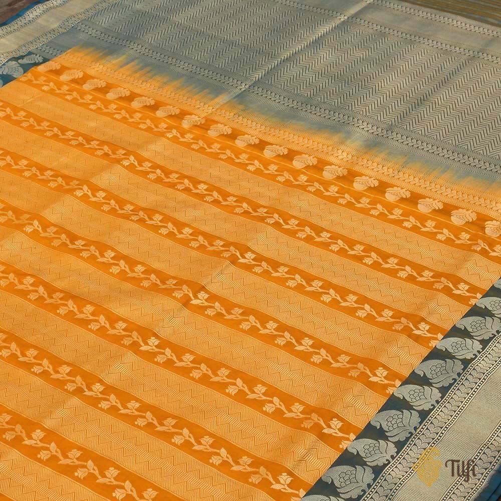 Yellow Pure Katan Silk Handloom Banarasi Saree