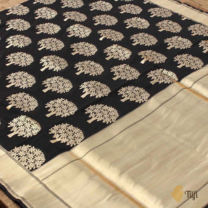 Black Pure Silk Georgette Banarasi Handloom Saree