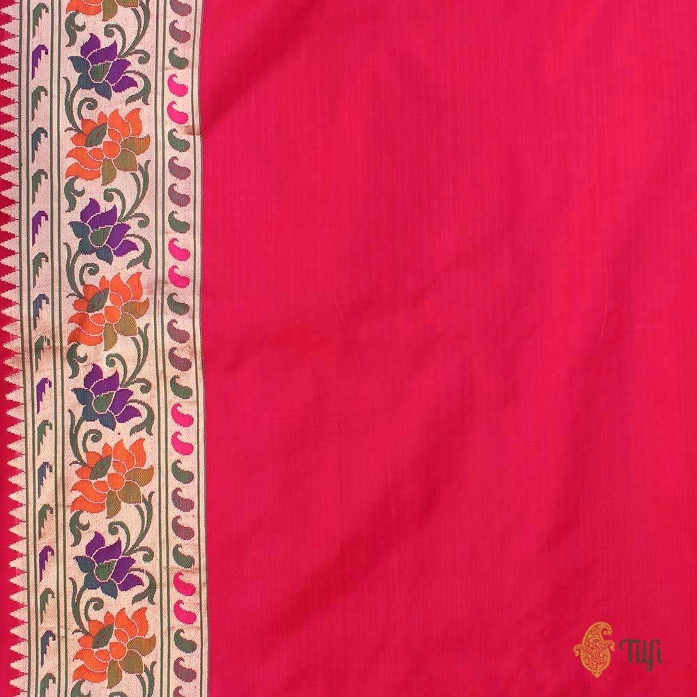 Red-Rani Pink Pure Silk Georgette Banarasi Handloom Saree