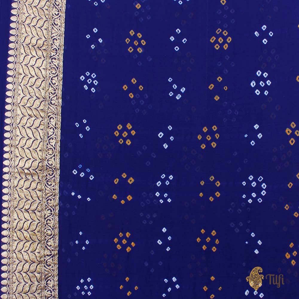 Ferozi-Royal Blue Pure Georgette Banarasi Bandhani Handloom Saree