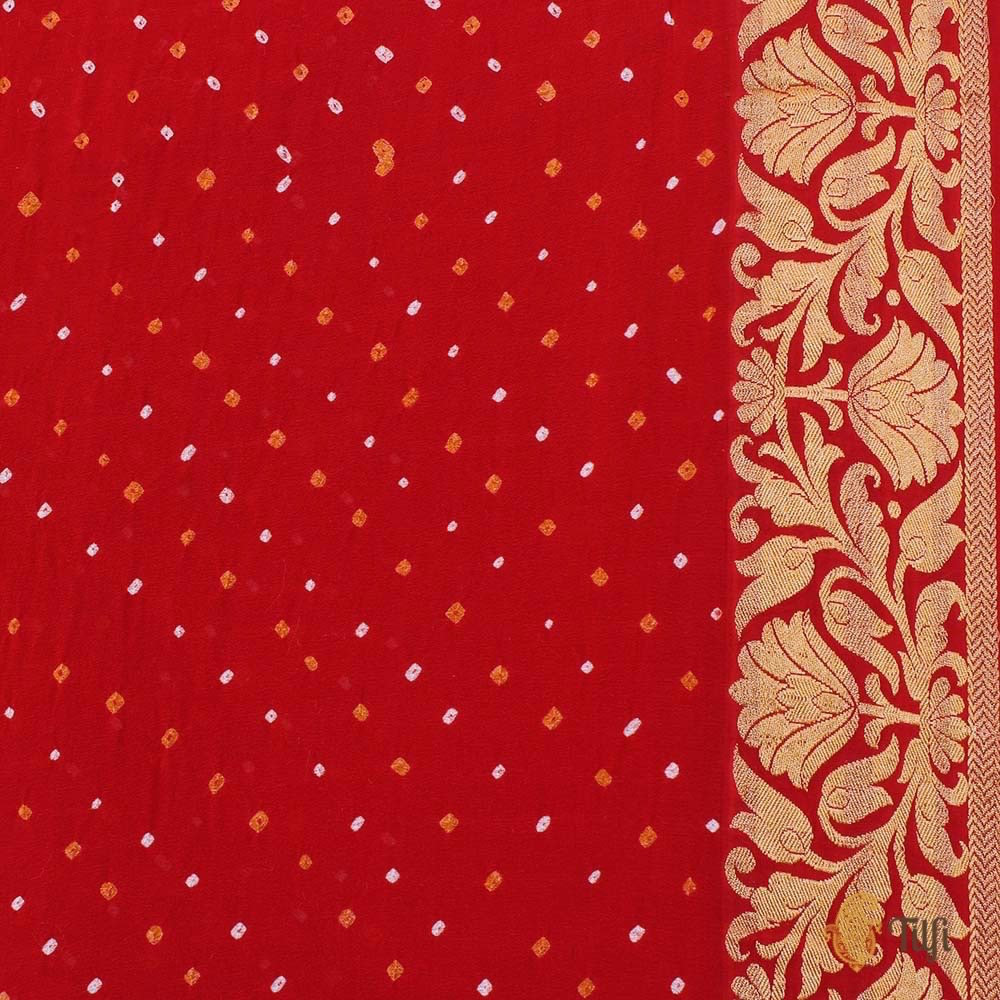Orange-Red Pure Georgette Banarasi Bandhani Handloom Saree