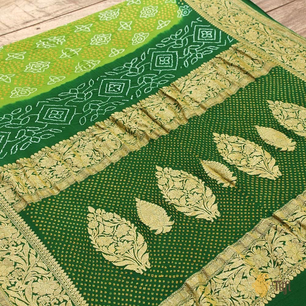 Parrot-Bottle Green Pure Georgette Banarasi Bandhani Handloom Saree
