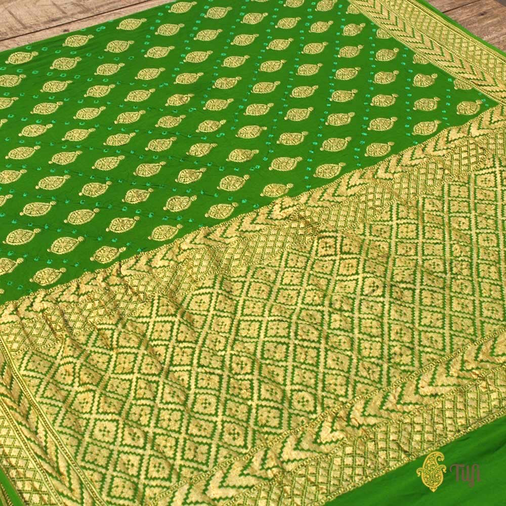 Green Pure Georgette Banarasi Bandhani Handloom Saree