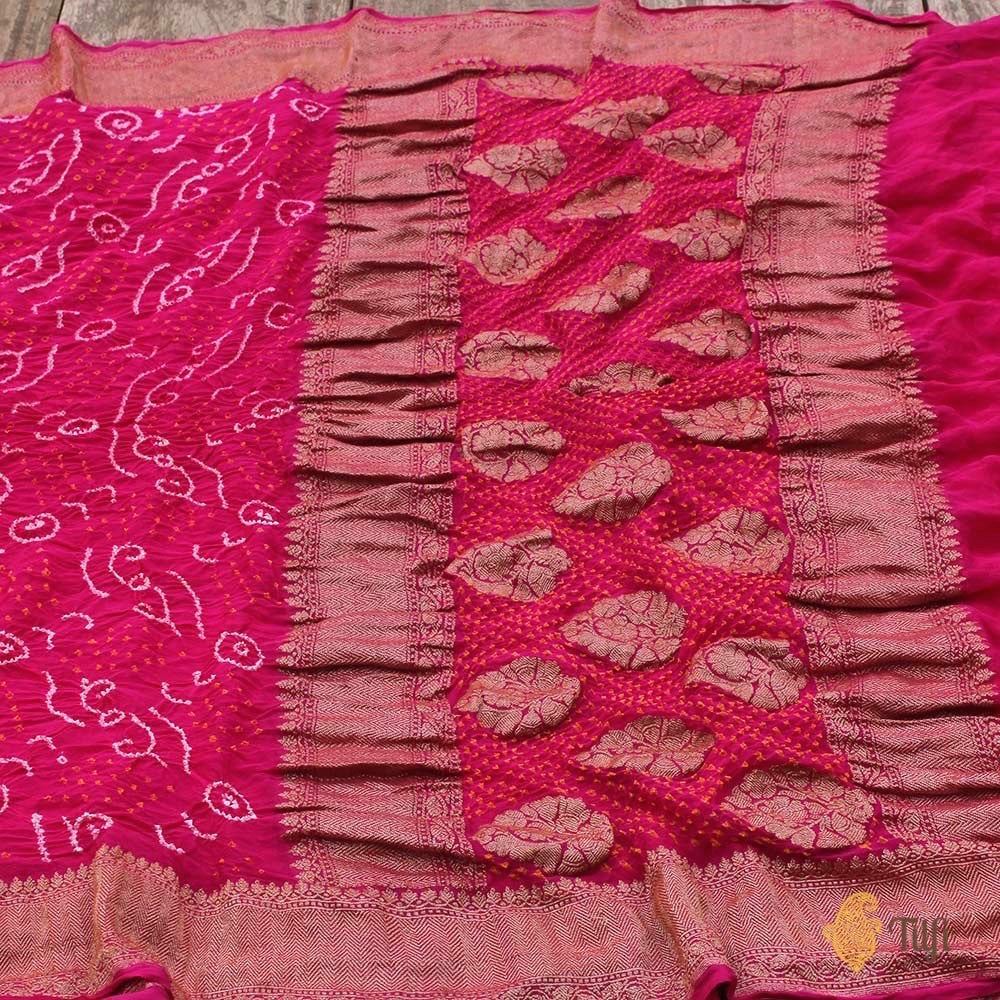 Indian Pink Pure Georgette Banarasi Bandhani Handloom Saree